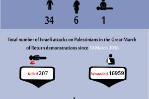 Total Number of Casualties on Gaza Demonstrations, 21 June 2019