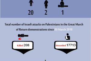 Total Number of Casualties on Gaza Demonstrations, 18 August 2019