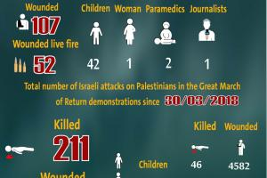 Total Number of Casualties on Gaza Demonstrations, 20 September 2019