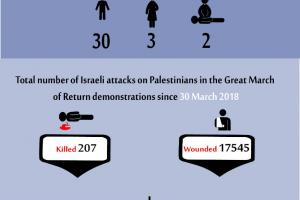 Total Number of Casualties on Gaza Demonstrations, 26 July 2019